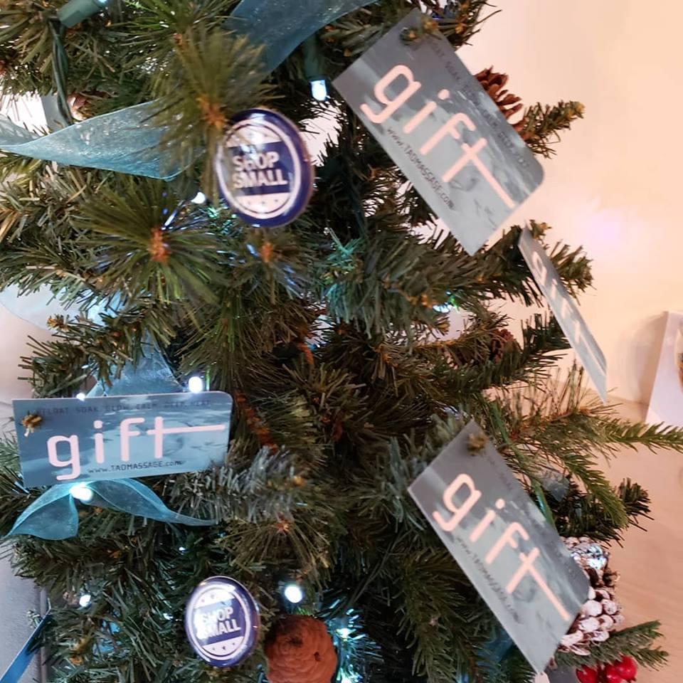 TAO gift card Christmas tree